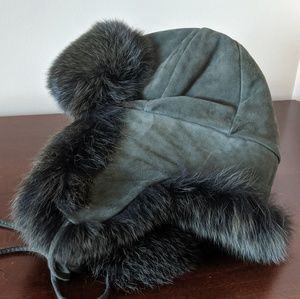 Winter fur aviator hat